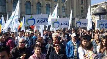 Peste 300 de membri PMP Argeş au demonstrat la Bucureşti contra Guvernului Ponta 5