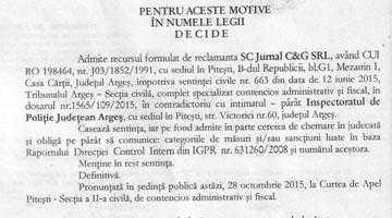 """Victorie a Jurnalului de Argeş în războiul """"informaţiilor clasificate"""" purtat cu IPJ Argeş 5"""