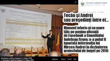 Poza lui Mircea Andrei a fost postată pe contul oficial de FB al Consiliului Judeţean, alături de cea a preşedintelui Tecău 5