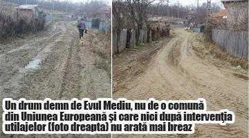 La Ciofrângeni se repară  drumurile doar când vine presa 5