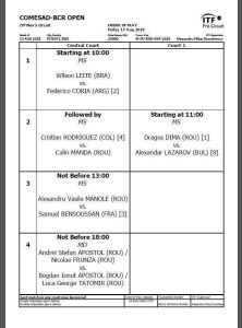 Programul meciurilor de vineri, din cadrul Turneului COMESAD BCR OPEN 8