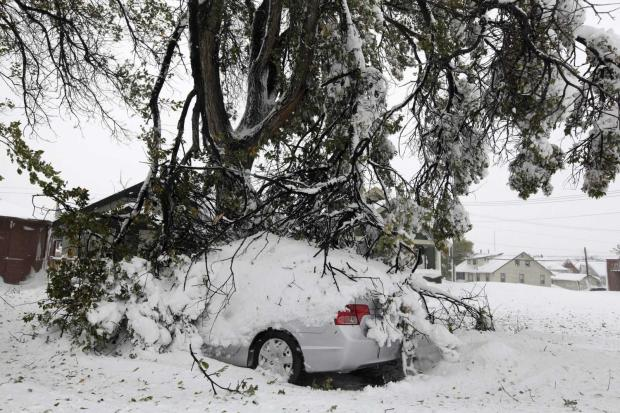 Broken tree branches cover a vehicle Saturday, Oct. 5, 2013 in Rapid City, S.D.  South Dakota emergency agencies are asking snowmobile operators in the Rapid City area to help find motorists stranded by an autumn storm. The National Weather Service says the storm dumped at least three and a half feet of wet, heavy snow in the Black Hills. Rapid City had 21 inches, but 31 inches was recorded just a mile southwest of the city. (AP Photo/Rapid City Journal, Benjamin Brayfield)