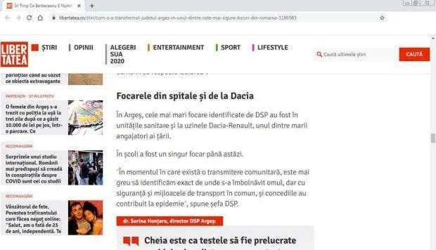 """Am avut dreptate în ceea ce am scris încă din august! / """"Libertatea"""" confirmă dezvăluirile din """"Jurnalul"""": Dacia a fost cel mai mare focar de Covid din Argeş 6"""