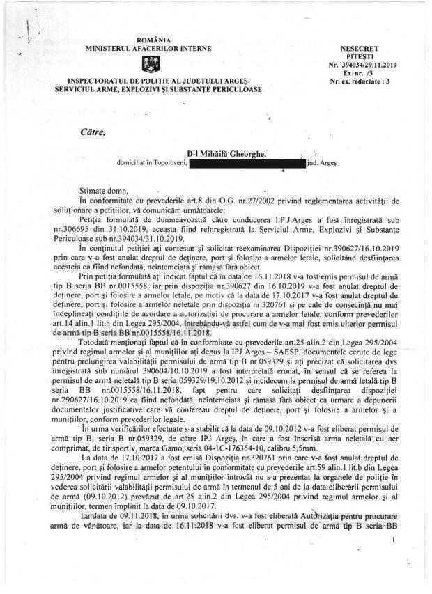 """Dezvăluiri. Gheorghe Mihăilă descrie filiera prin care se dau şi apoi se anulează permisele port-armă la IPJ Argeş / """"Cum să îmi dai arma dacă eu nu aveam dreptul, înseamnă că ai dat la toţi nebunii?!"""" 3"""