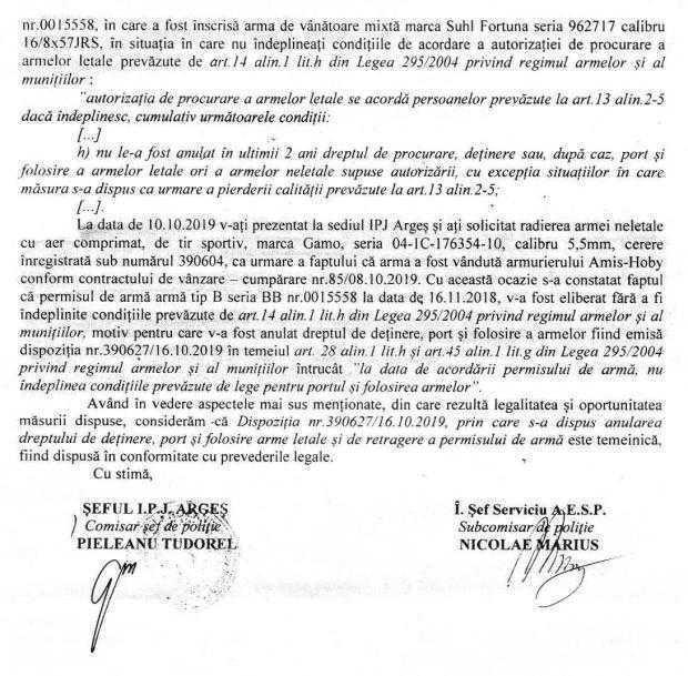 """Dezvăluiri. Gheorghe Mihăilă descrie filiera prin care se dau şi apoi se anulează permisele port-armă la IPJ Argeş / """"Cum să îmi dai arma dacă eu nu aveam dreptul, înseamnă că ai dat la toţi nebunii?!"""" 4"""