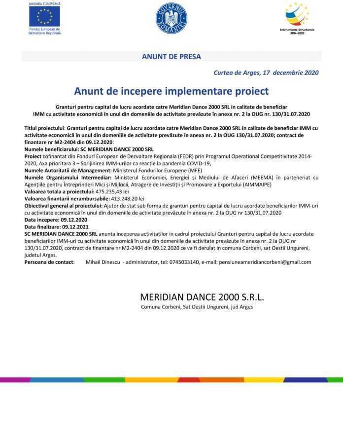 """Anunt de începere implementare proiect """"Granturi pentru capital de lucru acordate catre Meridian Dance 2000 SRL in calitate de beneficiar IMM cu activitate economică în unul din domeniile de activitate prevăzute în anexa nr. 2 la OUG nr. 130/31.07.2020"""" 5"""