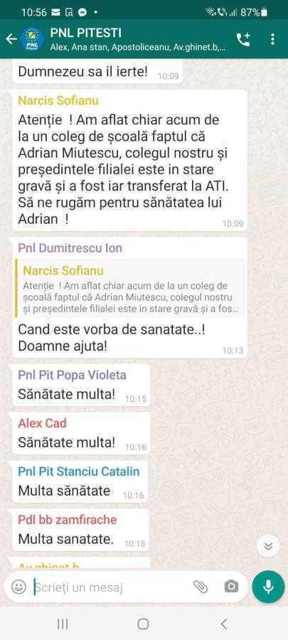 """Mesaj aproape funerar postat de Sofianu în grupul de whatsapp al PNL: """"Să ne rugăm pentru sănătatea lui Adrian!"""" 3"""