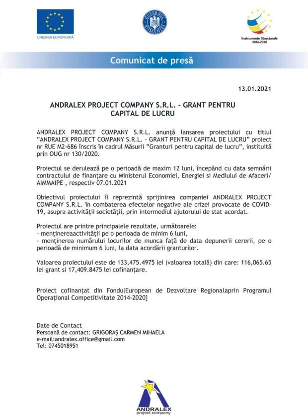 ANDRALEX PROJECT COMPANY S.R.L. - GRANT PENTRU CAPITAL DE LUCRU 5
