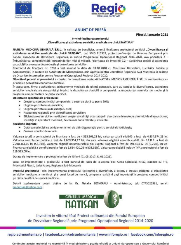 Anunț de presă privind finalizarea proiectului ,,Diversificarea și extinderea serviciilor medicale ale clinicii NATISAN'' 5