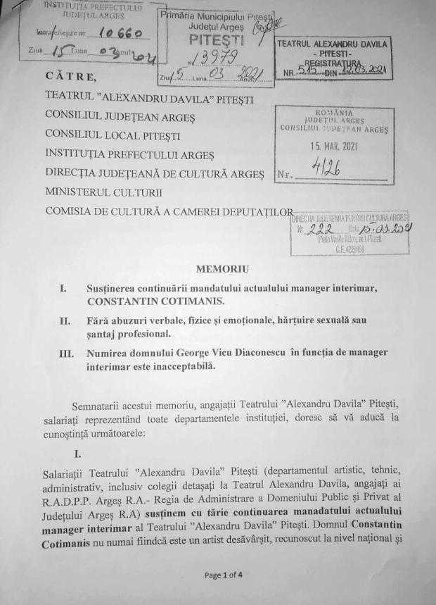 """Memoriu incendiar semnat de 39 angajaţi ai Teatrului """"Davila"""". Artiştii sunt pro Cotimanis şi contra lui Diaconescu, la conducerea instituţiei 5"""
