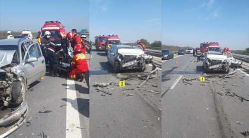 Accident cu 4 mașini pe A1! 3 persoane necesită îngrijiri medicale 5