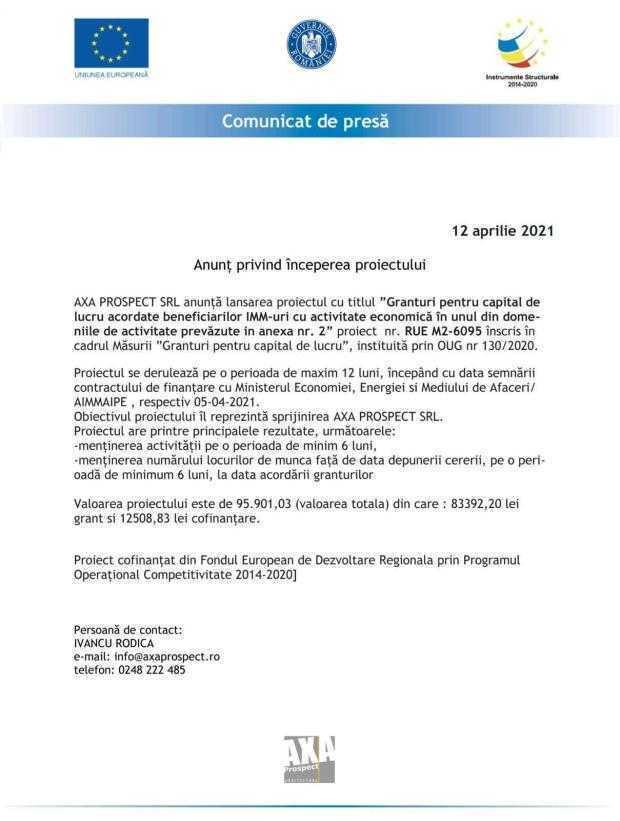 AXA PROSPECT SRL - anunț de începere proiect 4
