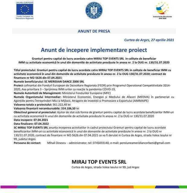 MIRAJ TOP EVENTS SRL - anunț de începere implementare proiect 6