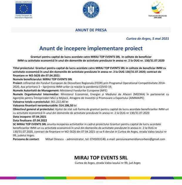 MIRAJ TOP EVENTS S.R.L. - anunț de începere implementare proiect 6