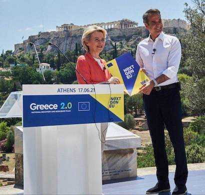 Ursula von der Leyen si premierul grec Kyriakos Mitsotakis