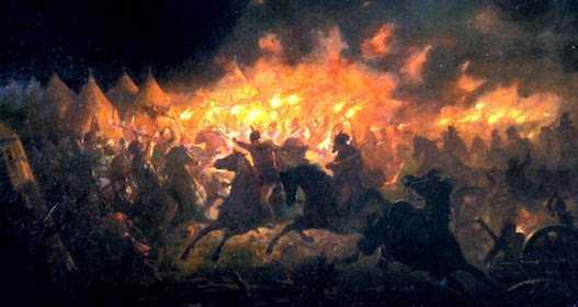 Pictură de Th.Aman – Atacul de noapte de lângă Târgoviște