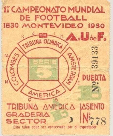 Bilet de intrare la primul Campionat Mondial de Fotbal